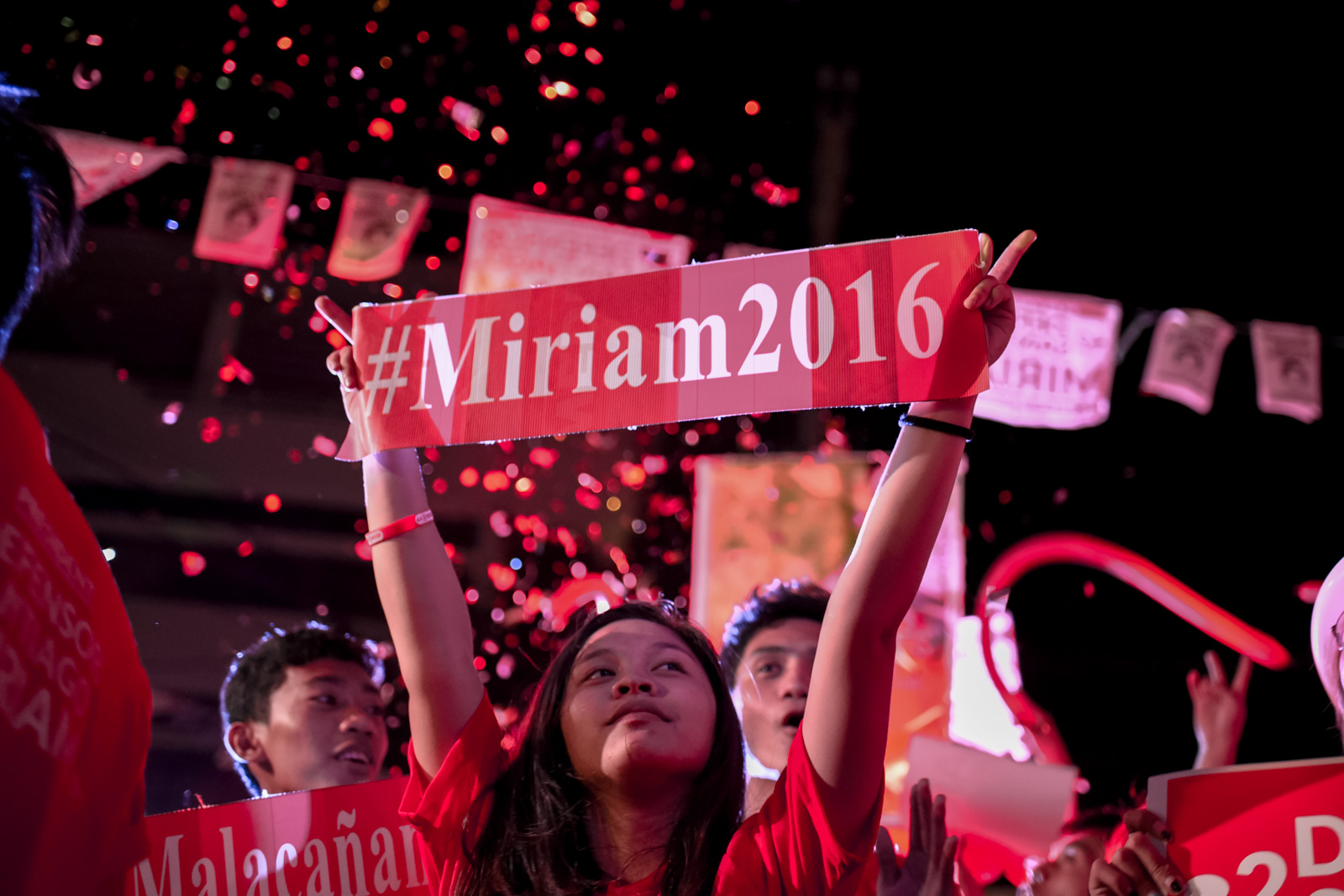 Youth for Miriam movement volunteers set up a street party for presidential candidate Miriam Defensor Santiago on the last day of the campaign period, May 7, 2016, in Quezon City.