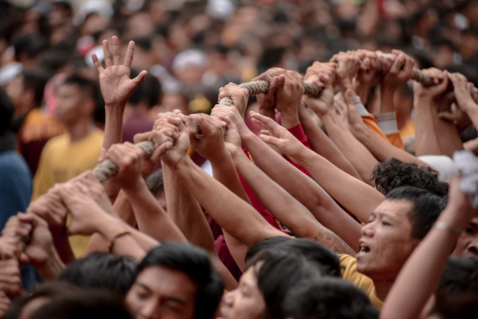Devotees hold on to the rope pulling the Black Nazarene.