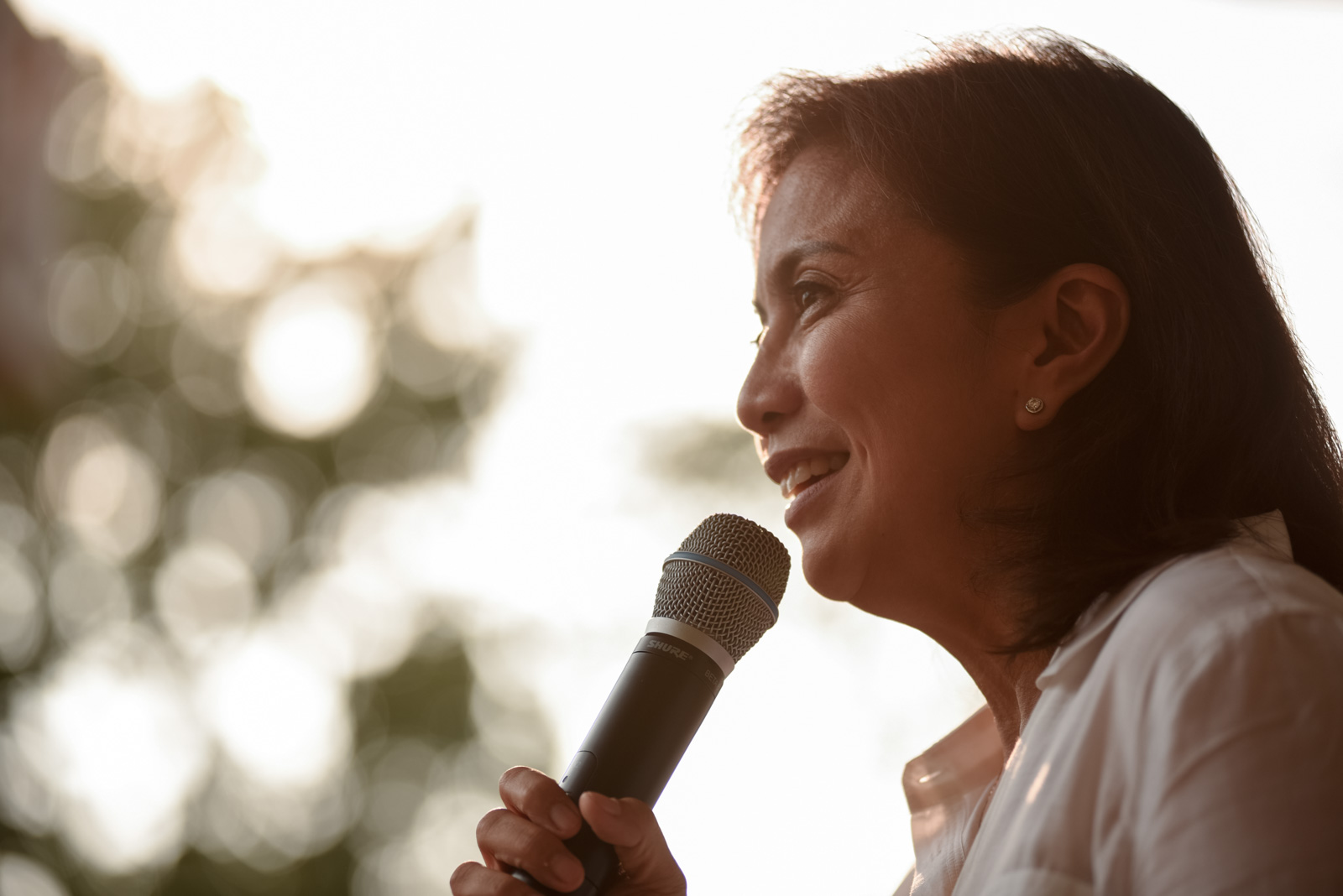 Vice Presidential candidate Leni Robredo speaks to supporters, declaring that a win by her opponent Bongbong Marcos is already mathematically improbable, May 15, 2016, at the Ateneo de Manila University in Quezon City.